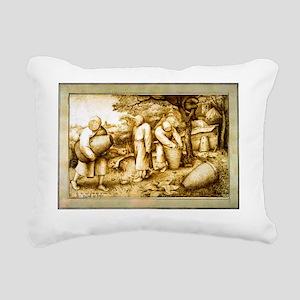 Medieval Beekeeping Illu Rectangular Canvas Pillow