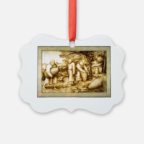 Medieval Beekeeping Illustration Ornament