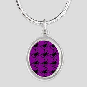 purple scorpions Silver Oval Necklace