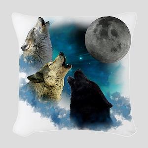 New Wolfs moon 2 Woven Throw Pillow