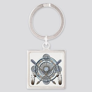 Winter Blue Dreamcatcher Square Keychain