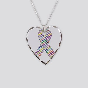 all cancer rep ribbon 2 Necklace Heart Charm