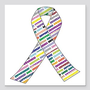 """all cancer rep ribbon 2 Square Car Magnet 3"""" x 3"""""""