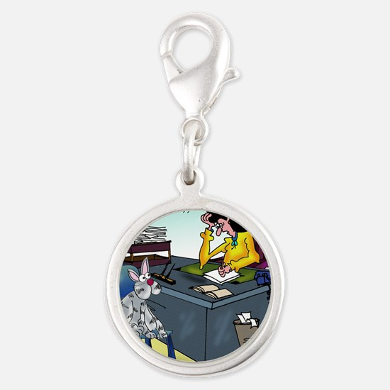 7355_insurance_cartoon Silver Round Charm