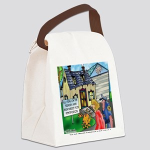3490_cat_cartoon Canvas Lunch Bag