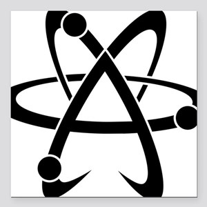 "Atheist A black Square Car Magnet 3"" x 3"""