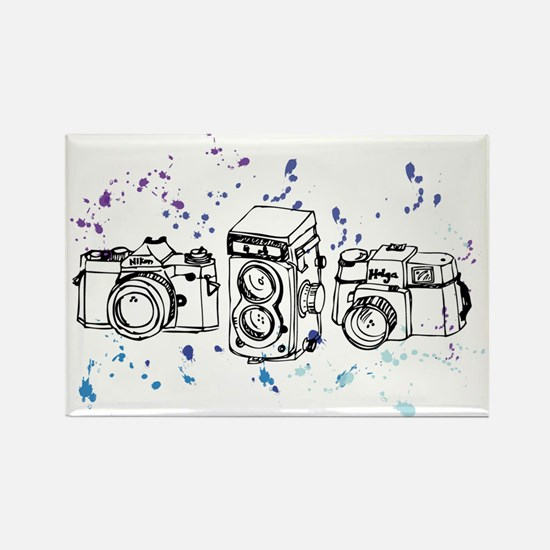 Cool Paint Blue Retro Cameras Rectangle Magnet