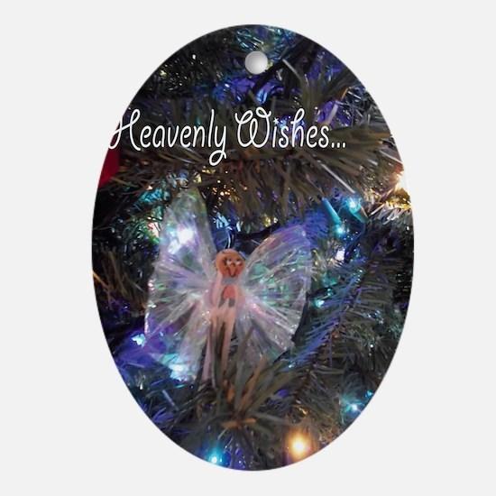 Cloth Pin Angel Christmas Heavenly W Oval Ornament