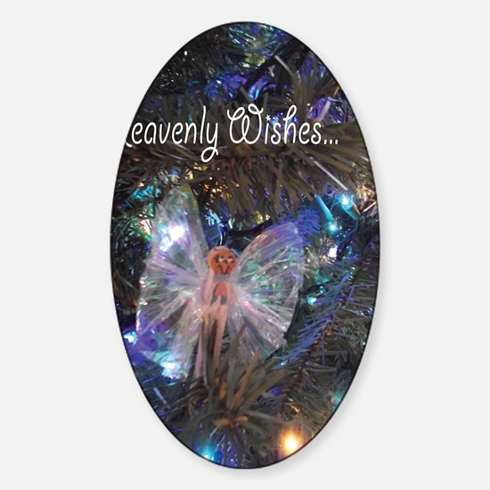 Cloth Pin Angel Christmas Heavenly  Sticker (Oval)