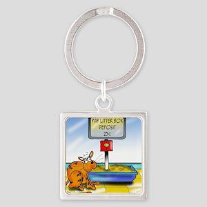 4833_cat_cartoon Square Keychain