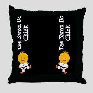 TaeKwonDoChickFlipFlopsCP Throw Pillow