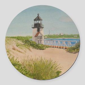 Brandt Point Lighthouse - Nantuck Round Car Magnet
