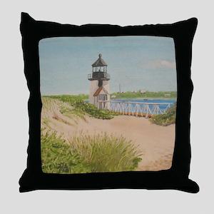 Brandt Point Lighthouse - Nantucket Throw Pillow