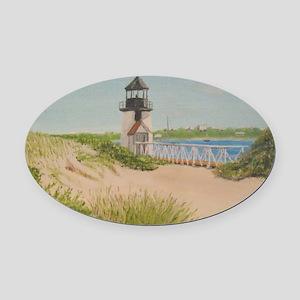 Brandt Point Lighthouse - Nantucke Oval Car Magnet
