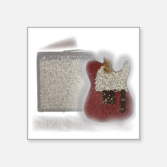 "guitar and amp mosaic Square Sticker 3"" x 3"""