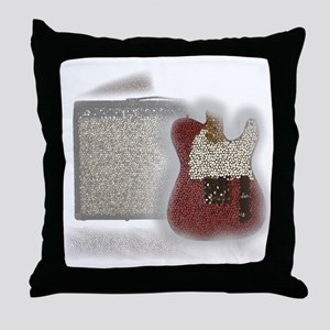 guitar and amp mosaic Throw Pillow