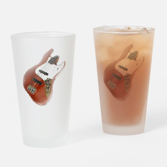 jazz bass distressed red Drinking Glass