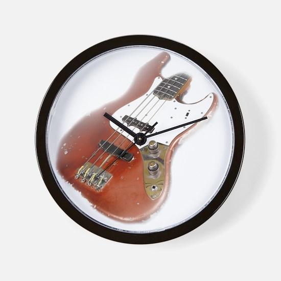 jazz bass distressed red Wall Clock