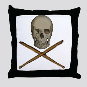 skull and stick bones Throw Pillow
