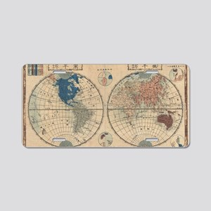1848_Japanese_Map_of_the_Wo Aluminum License Plate