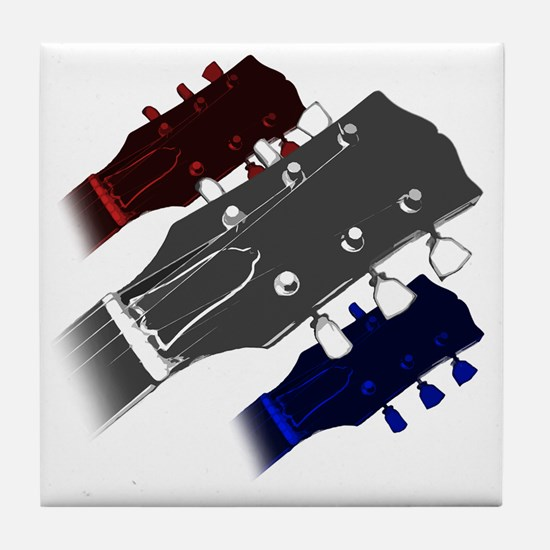 red white and blue headstock Tile Coaster