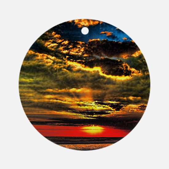 painted bali evening sky  1 Round Ornament