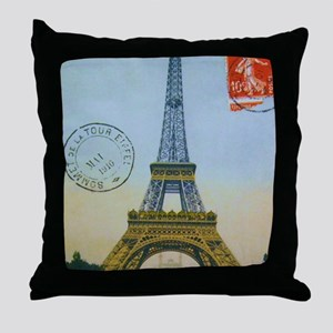 eiffelpostcardprint Throw Pillow