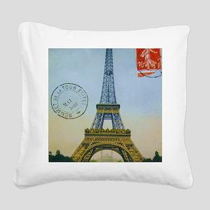 eiffelpostcardprint Square Canvas Pillow
