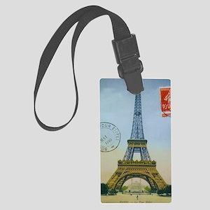 eiffelpostcardprint Large Luggage Tag