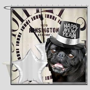 New Years Pug Dog Shower Curtain