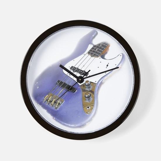 jazz bass distressed purple Wall Clock