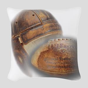 vintage football helmet Woven Throw Pillow