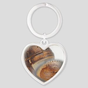 vintage football helmet Heart Keychain