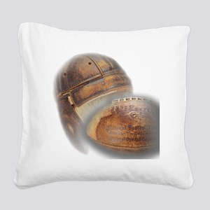 vintage football helmet Square Canvas Pillow