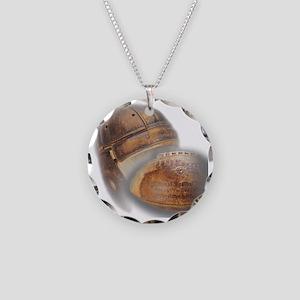 vintage football helmet Necklace Circle Charm