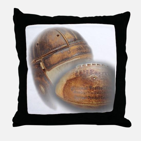 vintage football helmet Throw Pillow