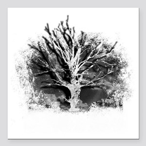 """tree black and white Square Car Magnet 3"""" x 3"""""""
