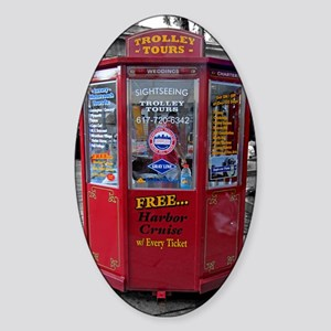 trolley tours ticket booth BW Sticker (Oval)