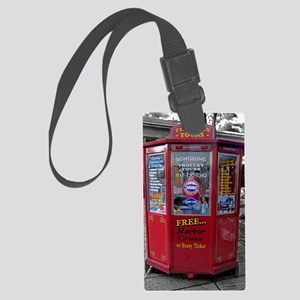 trolley tours ticket booth BW Large Luggage Tag