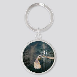 owl at midnight Round Keychain
