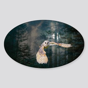 owl at midnight Sticker (Oval)