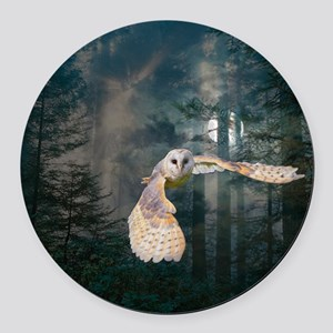 owl at midnight Round Car Magnet