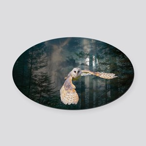 owl at midnight Oval Car Magnet