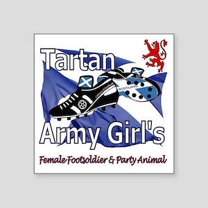 "Tartan Army Girls Scotland Square Sticker 3"" x 3"""