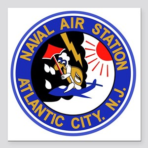 "US NAVAL AIR STATION ATL Square Car Magnet 3"" x 3"""