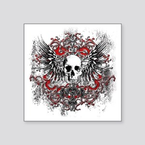 "Skullz Wings Square Sticker 3"" x 3"""