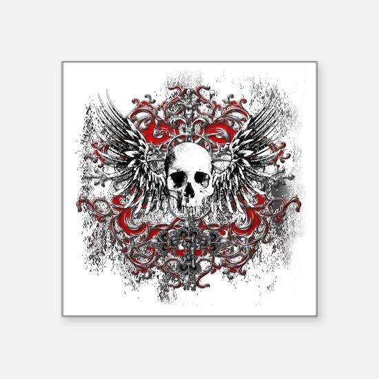 """Skullz Wings Square Sticker 3"""" x 3"""""""