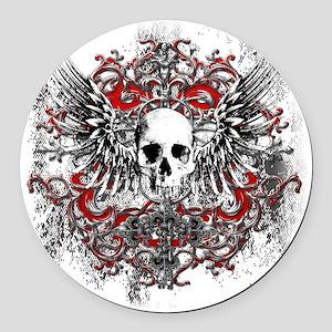 Skullz Wings Round Car Magnet