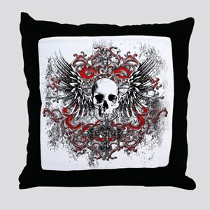 Skullz Wings Throw Pillow