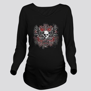 Skullz Wings Long Sleeve Maternity T-Shirt